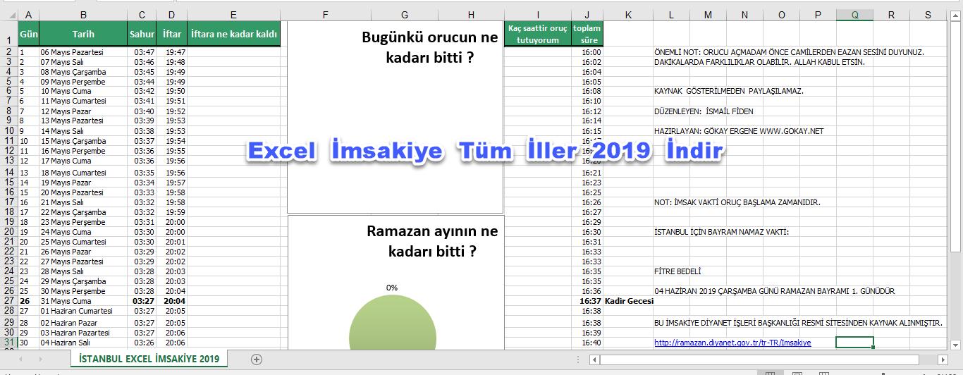 Excel İmsakiye 2019