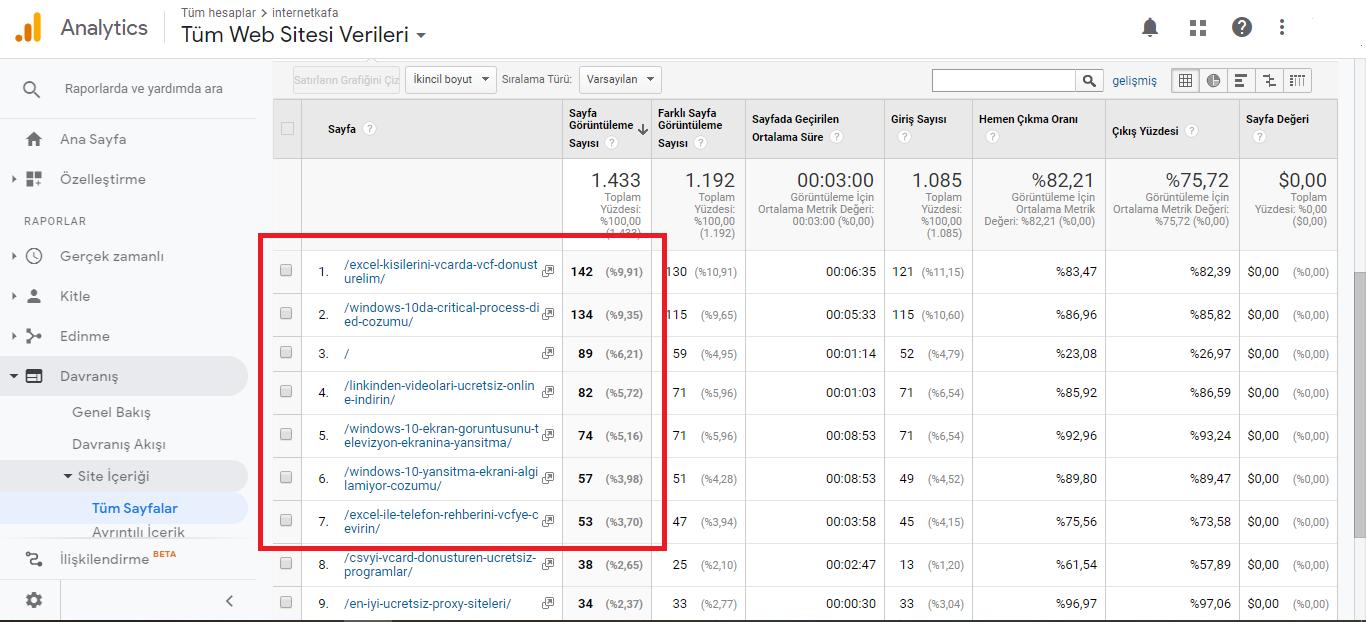 Google Analytics Sayfa Goruntuleme